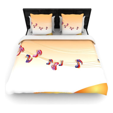 "Kess InHouse - Fotios Pavlopoulos ""Nature Music"" Orange White Woven Duvet Cover (King, 104"" x 8 - Add a splash of artistically inclined comfort to the average down comforter with a large focus to your bed! Our duvet cover is made of a beautifully crafted woven polyester fabric on top and a comforting and soft cotton/poly blend on bottom! We highly recommend washing your artwork before laying it onto your bed for added comfort and softness! These are totally machine washable and won't fade!"