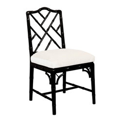 Jonathan Adler - Jonathan Adler Chippendale Side Chair Black - Asian appeal takes on contemporary charisma with Jonathan Adler's black Chippendale chair. Texturized by bamboo-shaped accents, a sleek lacquered frame contrasts boldly with a white square cushion to create ultra chic seating. Lacquer finish; Linen-blend fabric