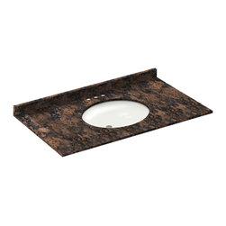 LessCare - 43x22 Baltic Brown Granite Vanity Countertops - 4 Faucet Spread - *Condition: New