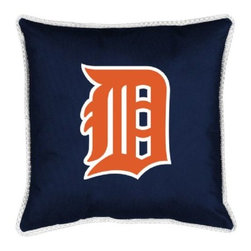 Sports Coverage - MLB Detroit Tigers Sidelines Toss Pillow - Make that new officially licensed MLB Detroit Tigers Sidelines Toss Pillow look as good as it feels. A must have for any true fan. A New Design - Same great quality!! Coordinating Toss pillow to match jersey material logo Comforter. Pillow is 17 x 17, 100% Polyester Cover and Fill. SIDELINES is trimmed in teams secondary color. 100% Polyester Jersey. Spot Clean only.