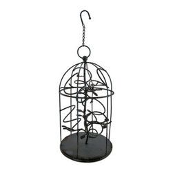 Rustic Metal Hanging Cage 6 Bottle Wine Rack 26 In. - This unique wine rack is a wonderful way to display up to 6 bottles of your favorite wines in your home, restaurant, or bar. Made of metal, it measures 26 inches from the hook hanger to the base and it is 10 3/4 inches in diameter. A metal vine with leaves winds up the center of the cage, twisting into 6 coils that accommodate wine bottles. This piece is a slate blue color with a distressed finish that give it an antique look. It makes a great gift for the wine enthusiast, and it is a wonderful housewarming gift.