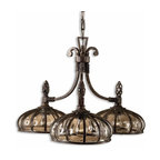 Uttermost - Galeana 3-Light Iron Chandelier - This sophisticated chandelier doesn't have crystals dripping from every arm. It doesn't need them to capture your attention. The Venetian-inspired, mouthblown, glass globes are banded with iron that has bronze clay patinas to replicate age. Hang this in your entryway, your master bath or your dining room and its understated elegance speak for itself.