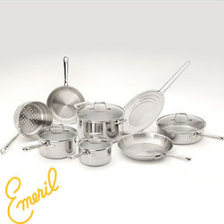 Emeril - Emeril Pro-Clad Stainless Steel 12-piece Cookware Set - Start your dinner off with the right tools using this Emeril stainless steel cookware set. With aluminum and copper bonded bases,these pots and pans will ensure quick heating and the tempered glass lids enable you to see the cooking in progress.
