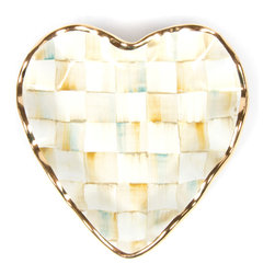 Parchment Check Fluted Heart Plate   MacKenzie-Childs - With a warmly elegant attitude, our Parchment Check dinnerware collection makes guests feel both special and yet right at home. Each Parchment Check Fluted Heart Plate is handcrafted of clay by our artisans in Aurora, and hand-painted in color-dragged checks, blending parchment, taupe, gold, and an irrepressible touch of aqua. Hand-applied gold lustre edges and accents. Kiln fired, four times.
