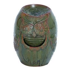 Woodland Imports - Ceramic Owl Fountain Glazed Brown Sculpted Home Patio Garden Decor - Ceramic owl motif fountain with glazed brown finish and beautiful sculpted details unique home Patio garden decor