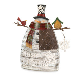 KOOLEKOO - Merry Christmas Snowman - This frosty snowman will warm your heart with his holiday cheer. His jolly smile peeks out from behind a plaid scarf and his twiggy arms hold a winter home for his feathered friend. Place him on your mantel or tabletop to make your Christmas extra merry.