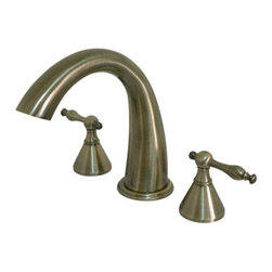 Kingston Brass - Two Handle Roman Tub Filler - Solid brass construction for durability and reliability, Premium color finish resists tarnishing and corrosion, 13.0 GPM at 60 PSI, 7-1/8in. spout reach, 8-7/16in. spout height, 5-1/4in. spout clearance, 3/4-14NPS, 1/4 turn ceramic disc cartridge, 8-16in. widespread installation, Ten year limited warranty.