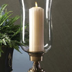 Dessau Home - Footed Hurricane Candleholder w Rim - Made from brass. Antique brass color. Made in India. 8 in. Dia. x 21 in. H