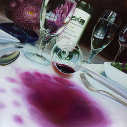 "Trisha Selgrath Fine Art - Whine, LE Giclee Print on Canvas - ""I've seen many works of art with wine as the subject matter, but I thought it would be fun to shake things up. Here, I've portrayed an expensive wine being spilled at dinner resulting in the inevitable whine! Don't worry, no expensive wines were injured in the creating of this art. I used a cheap bottle instead to stain the white tablecloth. Cheers!"" - Trisha Selgrath"