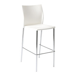 Euro Style - Yeva Bar Chair (Set Of 2) - White/Chrome - Polypropylene in brown, green or white and a solid chromed steel frame. But wait there's more. A very nice design touch that makes Yeva stand out. The seat back has small 'wings' that make the chair extra sturdy and imply armrests without taking up the space.