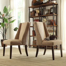 Inspire Q - INSPIRE Q Geneva Tan Chenille Wingback Hostess Chairs (Set of 2) - This Regency hostess chair set features the classic wingback style with curved legs in rich espresso finish. Accenting the mocha chenille upholstery is nailhead detailing that frame the seat and back,for the perfect touch to any room in your home.