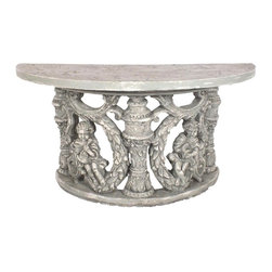 Painted Demi Lune Styled Console - This is a vintage console made in a pale grey finish, this console is intricately designed with stunning designs all around.