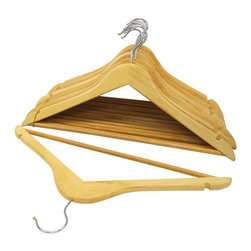 None - Natural Wood Suit Hangers (Pack of 96) - Keep your clothing organized and wrinkle-free with these durable wooden suit hangers,outfitted with a chromed steel hook for added protection. Each hanger features convenient cut-out notches for hanging women's camisoles,dresses and skirt straps.