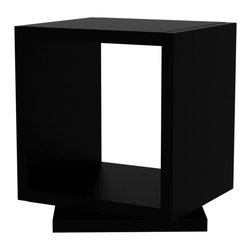 Tema Home - Shell Mini, Pure Black - A compact bookcase for small spaces, these stacked lacquered cubes rotate for easy storage and adaptable style. Spin the top cube to display a sculpture in just the right light or store your books for ease of reach.
