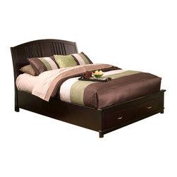 Alpine Furniture - Del Mar Queen Platform Bed with 2 Drawer Storage - Del Mar Queen Platform Bed with 2 Drawer Storage