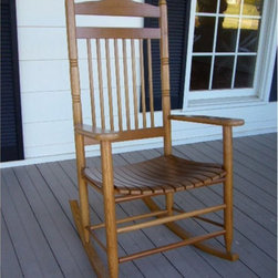 Dixie Seating - Standard Slat Porch Rocking Chair in Medium O - Designed for both indoor or outdoor use, this classic rocking chair will be an inviting choice for any front or back porch. Ideal for enjoying a glass of lemonade on a warm summer day. Classic indoor and outdoor standard adult slat porch rocking chair. Made of solid ash hardwood. Made in the USA. Ready to assemble format. Minimum assembly required. Underside is unsanded. 25 in. W x 19 in. D x 42 in H