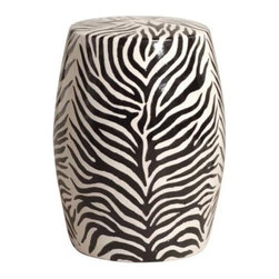 Zebra Garden Tea Stool Black White Side Table - I love Chinese garden stools so much that I dedicated an entire ideabook to them. I love zebra so much that I dedicated an entire ideabook to it! This zebra garden stool adds some animal print style to any room in the home, whether you use it as a side table, or a pair as a coffee table or nightstands.