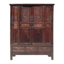 Golden Lotus - Chinese Antique Solid Wood Hand Carving Armoire Cabinet - This antique armoire is collected from northern China. It is made of solid elm wood and hand carved with ancient figures and flowers graphic.