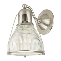 Hudson Valley - Hudson Valley 7301-SN 1 Light Wall SconceHaverhill Collection - Embossed with sleek vertical ribbing, Haverhill's clear glass refracts brilliant light across its prismatic shade.  The collection's vintage marine details bring the lively spirit of the open sea to inland and coastal estates alike.  Slender spider arms s
