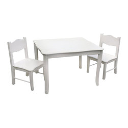 Guidecraft - Guidecraft Classic White Table and Chairs Set - Guidecraft - Kids' Table & Chair Sets - G85702 - The Classic White Collection is a beautiful combination of design function and features and is styled to coordinate with a variety of room decor. The collection features a soft white matte finish and gently scalloped silhouettes on key storage seating and dress up items.