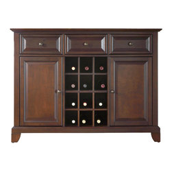 Crosley - Newport Buffet Server-Sideboard Cabinet with Wine Storage in Vintage Mahogany - Constructed of solid hardwood and wood veneers, this Buffet Server / Sideboard Cabinet is designed for longevity. The beautiful raised panel doors and drawers, provide the ultimate in style to dress up your home. The three deep drawers provide an abundance of storage space. Behind the two doors, you will find adjustable shelves and storage space for things that you prefer to be out of sight. The center storage area is great for up to 12 bottles of wine, or if you prefer, remove the wine storage cubes to reveal an adjustable shelf. Style, function, and quality make this Buffet Server a wise addition to your home.