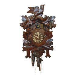 Schneider Cuckoo Clocks - 1-Day Black Forest Cuckoo Clock - 1-day rack strike movement. One door. Cuckoo calls and strikes every half and full hour. Wooden cuckoo, dial with roman numerals and hand. Shut-off lever on left side of case, silences the strike, call and music. Made from wood. Antique finish. Made in Germany. 7.87 in. W x 6.10 in. D x 11.81 in. H (4.41 lbs.). Care Instructions