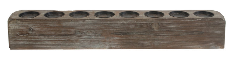 "Heather Fields Home & Garden - Long Wood Candle Holder Centerpiece - Long wood candle holder centerpiece. Also looks great on a buffet. Fits a 3""dia candle(Not included)."