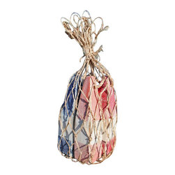 Nautical Wood Miniature Buoys- Orange/White/Orange, Blue/White/Blue, Red/White/R - Set of three miniature buoys strung with a jute cord and packaged in a genuine fish net bag.