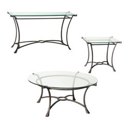 """Hammary - Hammary Sutton Round 3-Piece Coffee Table Set - Cocktail Table Set belongs to Sutton collection by Hammary Seldom does furniture come along that stops you in your tracks and stuns you with its vibrancy and verve. That's known as the """"wow"""" factor. But it has also has another name - """"Sutton"""" from Hammary. This dazzling three-piece occasional collection will captivate and charm you at first sight. Its spectacular design features a transitional-contemporary feel certain to inject energy and dynamism into any home setting and leave your neighbors and guests awed and inspired. Elegant touches include dark burnished steel frames - attractive yet resilient - with sweeping curved legs and flared feet. In addition, the robust bases are juxtaposed by glimmering 0.5-inch Glass tops with flat, polished edges. Find out just how refined and redemptive your home can feel when you furnish it with the very best. Surround yourself with """"Sutton"""" from Hammary."""