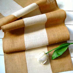 Rustic Burlap Table Runner by Homestead Burlaps - Unfurl a burlap runner on your dining room table.