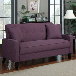 PORTFOLIO - Portfolio Ellie Amethyst Purple Linen Sofa - The Ellie sofa is transitionally designed featuring track arms with a button tufted back and two 18 inch throw pillows. The Engle sofa is covered in a durable linen-look fabric and features a handy lock system for easy assembly.