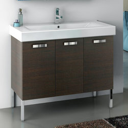 ACF - 40 Inch Vanity Cabinet With Fitted Sink - Set Includes:. Vanity Cabinet (3 Doors). High-end fitted ceramic sink. Kit of 4 polished chrome feet (7.9 inch ). Vanity Set Features . Vanity cabinet made of engineered wood. Cabinet features waterproof panels. Vanity cabinet in wenge, larch canapa, grey oak, glossy white finishes. Vanity cabinet features three easy-to-open doors. Chrome door handles elegantly complete vanity surface. Faucet not included. Perfect for modern bathrooms. Made and designed in Italy. Includes manufacturer 5 year warranty.