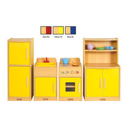 Ecr4kids - Ecr4Kids Colorful Essentials Play Kitchen Red - 5 Piece Set - Kitchen CE 4 piece. Easy-to-clean, stain resistant laminate.