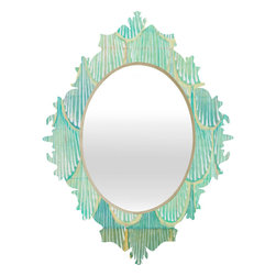 DENY Designs - Cori Dantini Turquoise Scallops Baroque Mirror - As we like to say around here, if it ain't baroque, don't hang it! With a sleek mix of baltic birch ply trim that's unique to each piece and a glossy aluminum frame, the baroque mirrors collection bumps your stylish reflection up a notch. Custom made in the USA for every order.