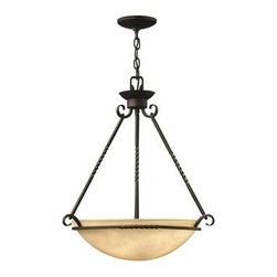 Hinkley Lighting - Hinkley Casa Olde Black Four-Light CFL Pendant Light - Casa makes the most of its fine details- individually unique antique scavo glass twisted wrought iron and hand-forged scrollwork in an Olde Black finish complete its rustic-chic appeal with a Southwestern flair.Under four generations of family leadership Hinkley Lighting has transformed from a small outdoor lantern company to a global brand intent on bringing you the best in style quality and value. LIFE AGLOW: That's their mantra and they take it seriously. By welcoming their products into your home they become part of your family's everyday life illuminating small moments and big occasions. They understand your home is so much more than a physical place. It's an emotional space designed by you so they are committed to keeping your 'Life Aglow' with stylish state-of-the-art lighting. Their products are the ultimate combination of style and substance. They are constantly developing new technologies to make their fixtures even more energy efficient. Hinkley recently upgraded their LED to cutting-edge high lumen output integrated solutions and they give you hundreds of energy-efficient styles to choose from. Even their Cleveland-based world headquarters employs high energy saving standards with low VOC materials and a variety of eco-smart applications into the design to make an earth-friendly work environment for their Hinkley family. Hand crafted fixtures luxe finishes artistic details and quality materials go into the design of every product they make. They embrace the philosophy that you can merge together the lighting furniture art and accessories you love into a beautiful environment that defines your own personal style.