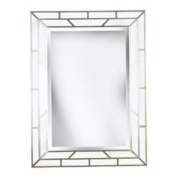"""Kenroy Home - Kenroy Home 60015 38"""" Contemporary Wall Mirror Lens Collection - 38"""" Contemporary Wall Mirror from the Lens CollectionKenroy Home offers the finest in decor, performance, and value.  Their chandeliers, ceiling lighting and indoor and outdoor wall lighting capture the essence of lighting technology, and combine it with styling points of view ranging from classical and traditional, to contemporary and casual.  Kenroy lamps and portable lighting utilize a wide variety of materials, and create artistic elements that complement your home furnishings as well as make their own statements.  Particular care is paid to hand applied polishing and painting, matched with the finest in glass and shade treatments.  Fountains are the latest Kenroy Home category entry, and are designed and crafted to blend with various interior and exterior decors. They add soothing movement and the gentle sounds of falling water to unique artistry created in real and simulated stone, metal and ceramics.Mirrored pieces bound by Silver framing surround the reflective center echoing the classic style of stained glass windows."""