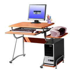 Techni Mobili - Techni Mobili Computer Desk with CPU Stand - Cherry Multicolor - RTA-8336-C09 - Shop for Desks from Hayneedle.com! The Techni Mobili Computer Desk with CPU Stand - Cherry is great for the dorm as well as the office. Made with a durable steel frame and quality MDF panels coated in a protective laminate this desk is built to last and it's also quite handsome with its rich cherry finish. The desk includes a CPU shelf side printer stand and smooth-gliding keyboard tray. To save space and keep your paperwork and technology organized the Techni Mobili Computer Desk with CPU stand is a magnificent choice.About RTA ProductsRTA Products located in Miramar Fla. is focused on creating producing and distributing high-quality products. Their stellar combination of price quality and service continually exceeds the expectations of customers and consumers. Many products are subjected to independent tests separate from the company ensuring each item is developed with the customer in mind.