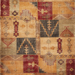 Kas - Distressed Antiques Agra Coffee Cypress Transitional 5' x 8' Kas Rug  by RugLots - Discover an updated form of antique living with our Cypress Collection. Hand-knotted in India of 100% distressed wool in a worn-stitch weave, these rugs bring trendy colors together with traditional design elements to create old-world style that