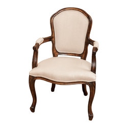 Great Deal Furniture - Queen Ann Oak Wood Beige Fabric Armchair - With a unique yet classic design, the Queen Ann Oak Armchair adds a vintage charm to any room. Timeless, elegant, and charming, this chair will function perfectly as the accent piece you have been seeking. Perfect for adding a bit of vintage class to your dinning experience, or to enhance your living space, this chair has a uniquely designed dark oak wood frame and plush beige linen seat and backrest. You will want to keep a pair of these chairs in each and every room.