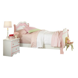 Standard Furniture - Standard Furniture Bubblegum 4-Piece Sleigh Bedroom Set in White and Pink - Bubblegum bedroom is adorably cute and charmingly sweet, and is lavished with lots of girlie-girl details.