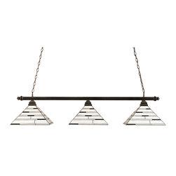 "Toltec - Toltec 403-BC-952 Black Copper Finish 3-Light Square Bar - Toltec 403-BC-952 Black Copper Finish 3-Light Square Bar with 14"" Pearl Ebony Tiffany Glass"