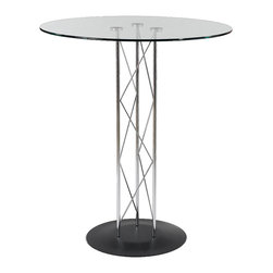 """Euro Style - Euro Style Trave 32"""" Bar Table 08032G/08022B/08021A - Clear glass top and industrial strength base make Trave the first name in lasting style. The statement is crisp lines and clear strength. Sitting or standing room only!"""