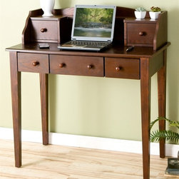 Holly & Martin - Holly & Martin Finn Computer Desk in Espresso - * Five spacious drawers. Desktop cord management. Contemporary espresso finish. Matching solid wood hardware. MDF; Solid wood; Veneer; assembly required. 21.5 in. H x 39 in. W x 10 in. D.