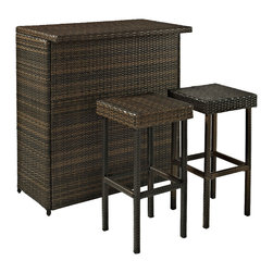 Crosley - Palm Harbor 3 Piece Outdoor Wicker Bar Set - Table & Two Stools - Host outdoor happy hour with our elegantly designed, all-weather outdoor resin wicker bar set. Clean lines marry with an abundance of underneath storage for all your barware essentials.   Finely crafted with intricately woven wicker over durable steel frames to provide lasting resiliency to the weather. Be the hit of outdoor entertaining with this stylish bar.   Includes bar and two stools.