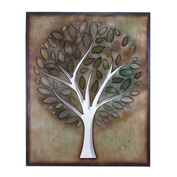 UMA - Living Sentry Tree Wall Art - A large tree with a round crown and multi colored leaves fills the width of this nature inspired wall art