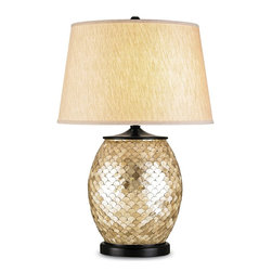 Currey and Company - Alfresco Table Lamp - This lamp commands attention. The base is covered by little Capiz shells in a fish scale pattern. The shade is an oatmeal color linen.