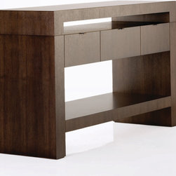 Marka Console - Scored grid design at top and sides, top and legs available in constrasting woods/finishes. Standard CG wood finishes.