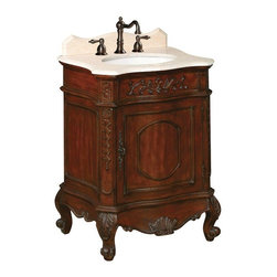 World Imports - Belle Foret 26in. W Petite Single Basin Vanity, Dark Cherry - 37 in H and 21 in D vanity provides storage for rooms with limited space