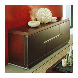 City Modern Buffet By Rossetto - Polished refinement is found with the City Modern Buffet,which features a luxurious dark wood finish and brown Italian leather covered doors. Ideal for those who crave elegance when entertaining,the sideboard stores and displays all your tabletop needs.