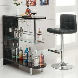 "Coaster - Bar Table - Black - Contemporary bar unit featuring two storage shelves and a stemware rack with chrome railing. Finished in black or white.; Dimensions: 39.25""L x 15.75""W x 41.00""H"